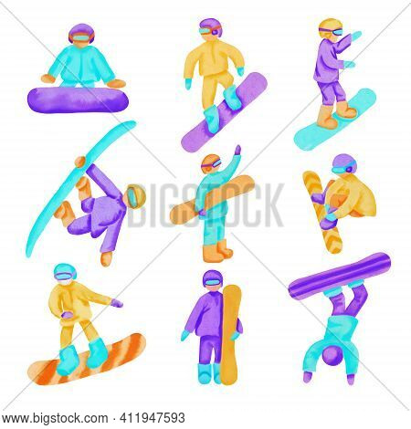 Set Of Watercolor Snowboarders Isolated On White Background. Hand Dawn Cartoon Illustration.