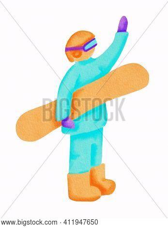 Snowboarder In Light Blue Sport Wear, Orange Helmet And Snowboard. Hand Drawn Watercolor Cartoon Ill