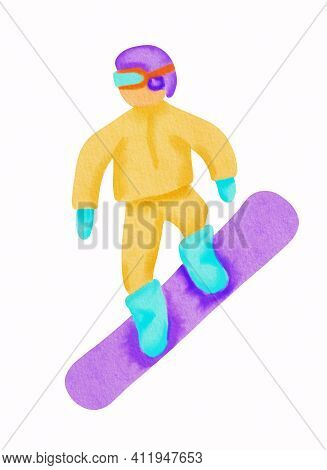Snowboarder In Orange Sport Wear And Violet Helmet. He Is Riding At The Snowboard. Hand Drawn Waterc