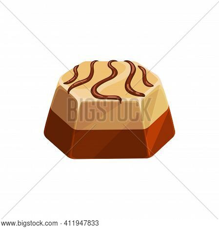 Chocolate Candy Isolated Icon, Vector Sweet Dessert Confection. Chocolate Candy Comfit Of White And