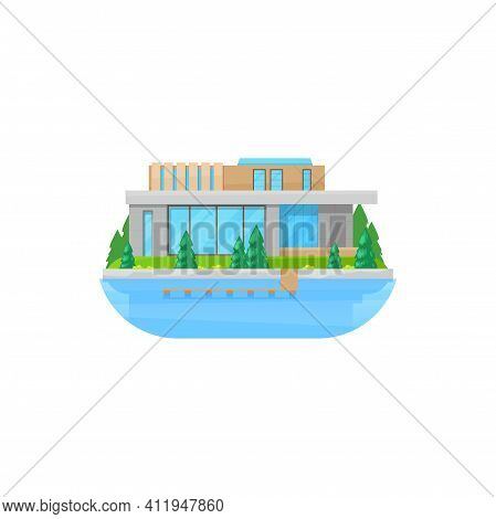 House At Water, Home Building Villa Or Mansion Cottage, Vector Isolated Icon. Private House At River
