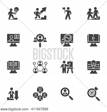 Business Strategy Vector Icons Set, Modern Solid Symbol Collection, Filled Style Pictogram Pack. Sig