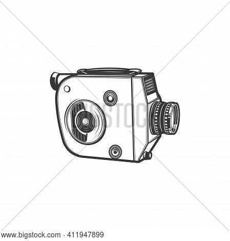 Retro Projector Old Video Camera Isolated Cam Monochrome Icon. Vector Professional Vintage Photocame