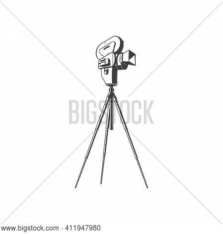 Vintage Photocamera On Tripod Isolated Movie Making Equipment Monochrome Icon. Vector Retro Cinemato
