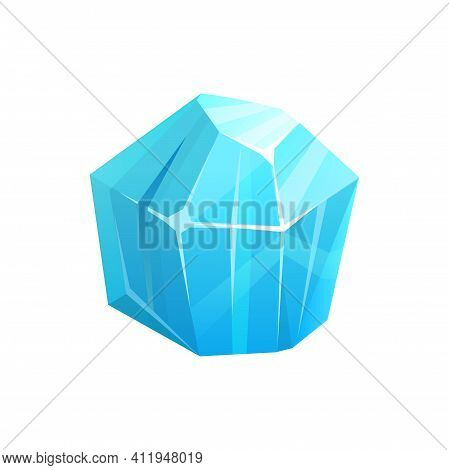 Ice Crystal Rock, Iceberg Or Frozen Snow And Blue Glass Cube, Vector Isolated Icon. Glacier Ice Rock