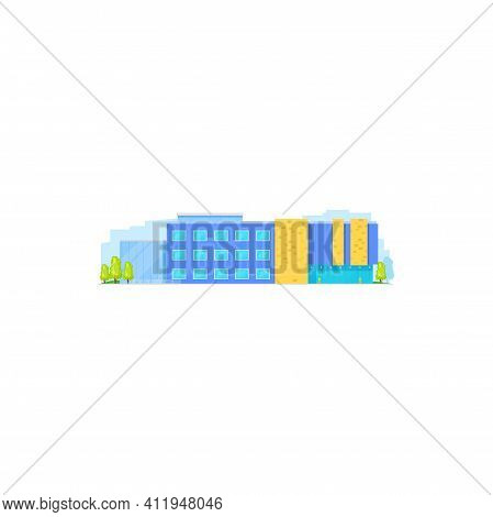 School Building Flat, College House Of High Education, Vector Isolated Icon. University, School Or E