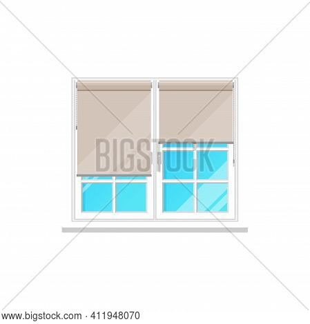 Window Curtains Or Roller Blinds Or Roll Shutters, Vector Flat Isolated Icon. Window Frame Interior