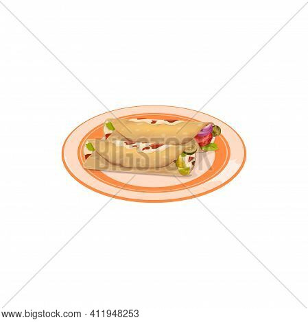 Burrito, Grilled Tortilla With Meat And Vegetables Isolated Mexican Food On Plate. Vector Shaurma Or