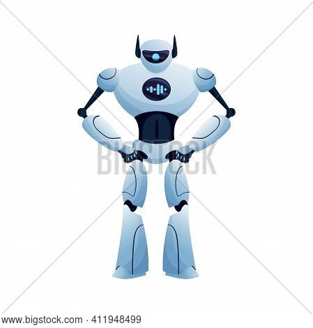 Cyber Huge Robot With Chat Display On Body Isolated Hi-tech Character, Full Length Android. Vector C