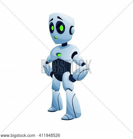 Robot With Arms On Waist Isolated Kids Toy Side View. Vector Android Automation Full Length Futurist