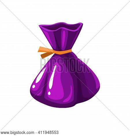 Choco Sweets Isolated Chocolate Candy In Purple Glossy Wrapping Paper, Realistic Icon. Vector Birthd