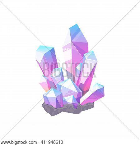 Purple Gem Stone Isolated Natural Crystal Icon. Vector Violet Amethyst Or Quartz, Elegant Mauve Agat