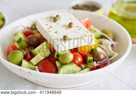 Greek Village Salad Horiatiki With Feta Cheese And Vegetables, Vegeterian Mediterranean Food, Low Ca