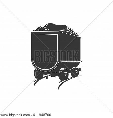 Barrow Track On Railroad Rails, Quarry Machinery Transport Isolated Monochrome Icon. Vector Rocks Tr