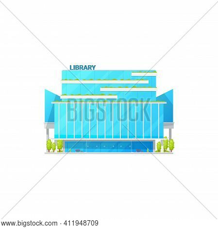 Glass Facade Of Library Building Isolated Institute Establishment. Vector Books House, Athenaeum Or