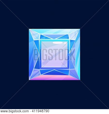 Blue Magic Crystal, Faceted Gem Vector Icon, Jewel Rock Of Square Shape, Diamond, Sapphire Mineral S