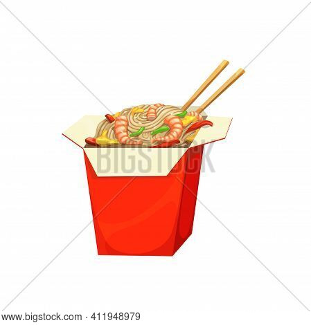 Noodles Box, Fast Food Menu Asian Chinese Meals, Vector Isolated Icon. Fastfood Restaurant Or Street