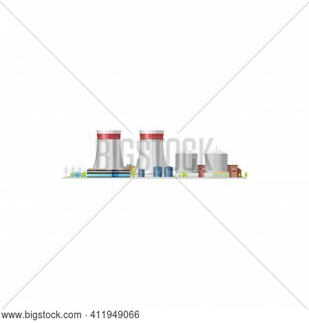Nuclear Power Plant Or Thermal Energy Station, Vector Building, Flat Isolated Factory. Nuclear Power