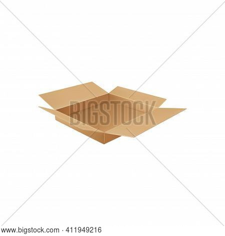 Open Carton Brown Box Isolated Delivery Pack Above View Realistic Icon. Vector Paperboard Container,