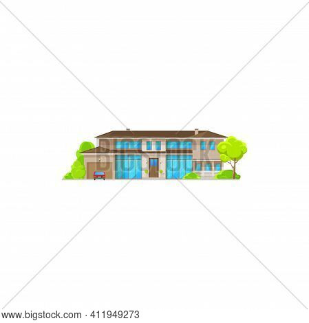 House Country Dwelling Outdoor Facade With Garage And Parked Car Isolated. Vector Suburban House Wit