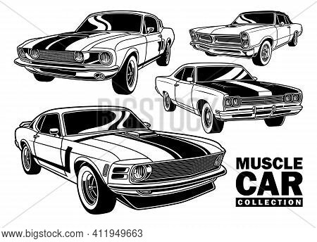 Vintage Muscle Car Collection Vector Illustration On White