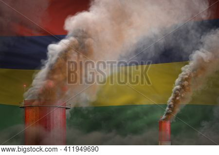 Global Warming Concept - Heavy Smoke From Industrial Pipes On Mauritius Flag Background With Place F