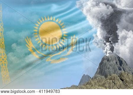 Stratovolcano Eruption At Day Time With White Smoke On Kazakhstan Flag Background, Troubles Because