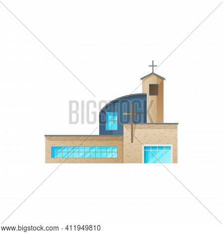 Catholic Church Building Vector Icon. Cathedral With Chapel, Modern Monastery Facade. Contemporary C