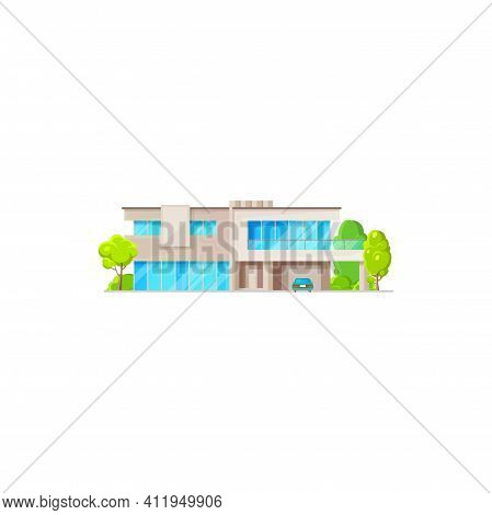 Modern Chalet, Country Contemporary Building, Futuristic Dwelling. Vector Luxury House Sale Or Rent,