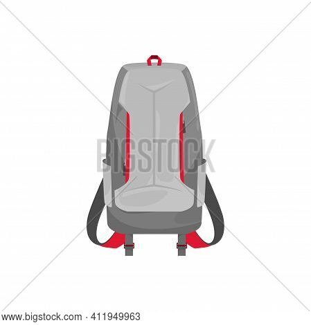 Kids Schoolbag Isolated Vector Icon, Cartoon Rucksack Of Grey Color With Red Stripes. Student Or Hik