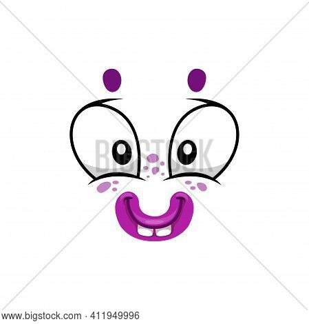 Cartoon Face Isolated Vector Icon, Smile Facial Emoji Of Funny Stupid Creature. Happy Emotion, Comic