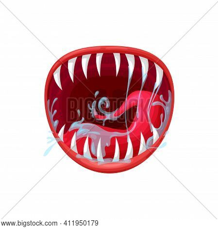 Monster Mouth Vector Icon, Creepy Yelling Beast Jaws With Sharp Teeth And Long Tongue With Splashing