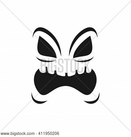 Creepy Face Vector Icon, Scary Yelling Evil Emoji With Angry Eyes And Open Mouth. Ghost, Halloween P