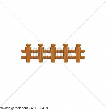 Outdoor Barrier Of Pickets, Hardwood Garden Slats Isolated Wooden Fence. Vector Parallel Farming Bou