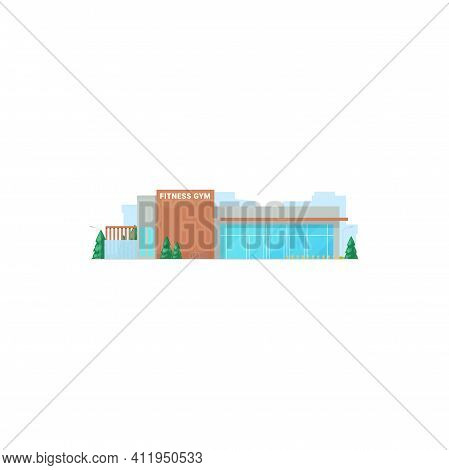 Fitness Center Isolated Gymnastic Activity Gym, Front View Of Beauty Center. Vector Glass Building,