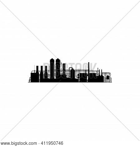 Chemical Factory Silhouette Isolated Icon. Vector Industrial And Technology Plant Design. Vector Pip