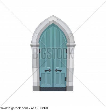 European Medieval Cartoon Gate Or Door Fairytale Entry Isolated Flat Cartoon Or Realistic Icon. Vect