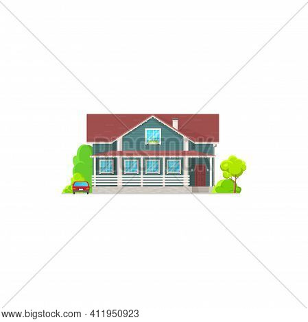 Cottage House Facade Exterior Isolated Residential Hotel Motel Flat Cartoon Building. Vector Urban P