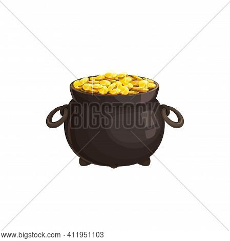 Iron Pot With Handles, Cartoon Cauldron Full Of Coins Isolated Gold Money Of Fortune And Luck. Vecto