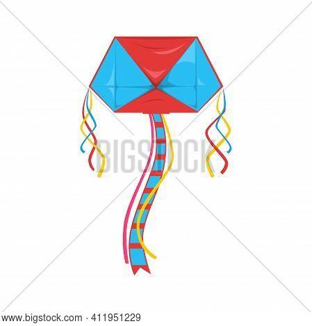 Color Kite With String Isolated Kids Toy, Uttarayan International Kites Festival Symbol. Vector Kite