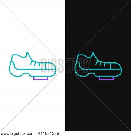 Line Triathlon Cycling Shoes Icon Isolated On White And Black Background. Sport Shoes, Bicycle Shoes