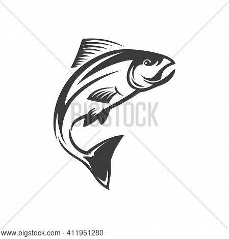 Wahoo Scombrid Fish, Underwater Animal Fishery Trophy Mascot Isolated Monochrome Icon. Vector Pelagi