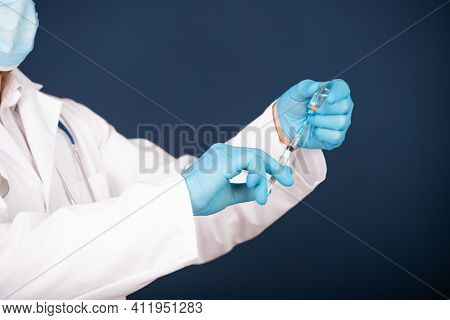 Concept of herd immunity, virus spreading in society. Banner of doctor with syringe is preparing for vaccine.