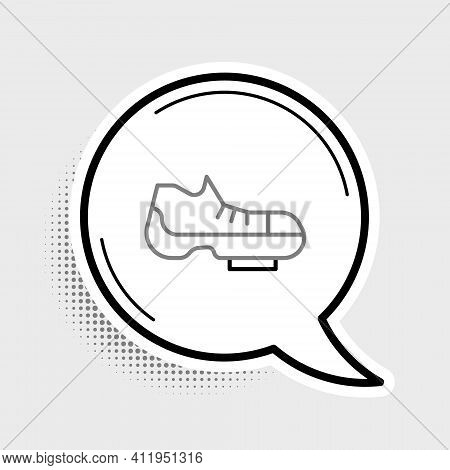 Line Triathlon Cycling Shoes Icon Isolated On Grey Background. Sport Shoes, Bicycle Shoes. Colorful