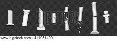 Ancient Roman Columns, Broken Marble Architecture Elements. Vector Realistic Old Destroyed Antique G