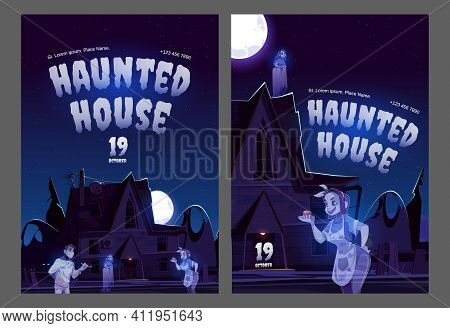 Haunted House Posters With Old House With Ghosts At Night. Vector Flyers Of Halloween Party Or Scary