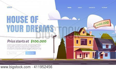 House Of Your Dream Cartoon Landing Page, Real Estate Agency Service, Suburban Homes Selling Promo.