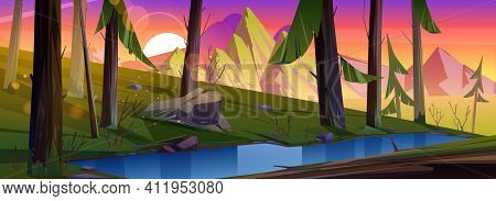 Mountain Landscape With Forest And Water Stream At Sunset. Vector Cartoon Illustration Of Summer Con