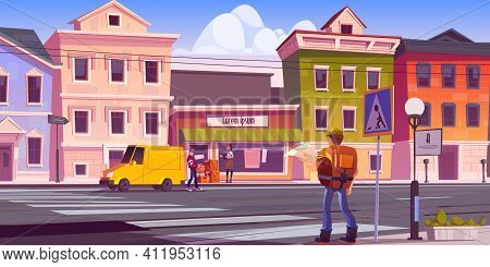 Traveler Man With Map And Backpack On Retro City Street With Antique Buildings And Porter Unload Car