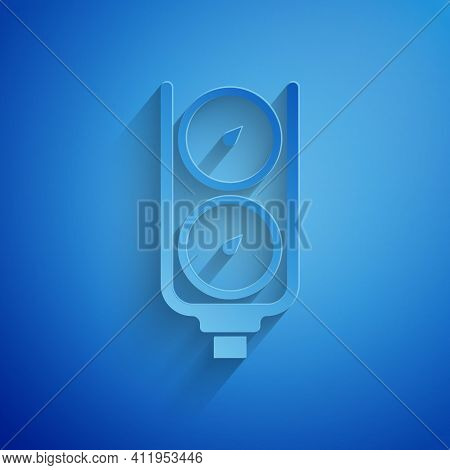 Paper Cut Gauge Scale Icon Isolated On Blue Background. Satisfaction, Temperature, Manometer, Risk,